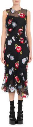 Simone Rocha Floral-Embroidery Tulle Sleeveless Midi Dress