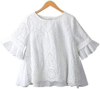 Goodnight Macaroon 'Antoinette' Eyelet Pattern Cape Sleeve Mock Layer Top by Champagne & Chanel (2 Colors)
