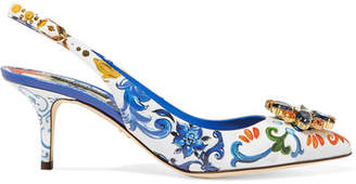 Dolce & Gabbana Crystal-embellished Floral-print Patent-leather Slingback Pumps - Blue