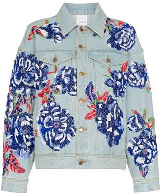 Ashish Flower embroidered cotton denim jacket