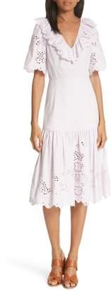 Rebecca Taylor Eyelet Poplin Midi Dress