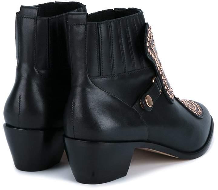 Sophia Webster Black studded leather ankle boots