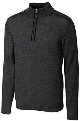 Cutter & Buck Men's Big and Tall Henry Marled Merino Wool Blend Long Sleeve Half Zip Sweater