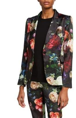 ADAM by Adam Lippes Floral Print Satin Tailored Blazer