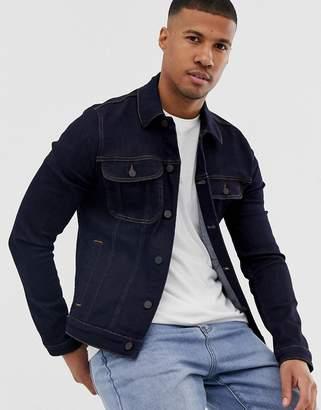 4b77a8c44d7b0c Asos Design DESIGN skinny western denim jacket in dark wash