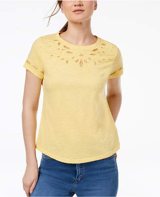 Charter Club Petite Embroidered-Trim Cotton Top, Created for Macy's
