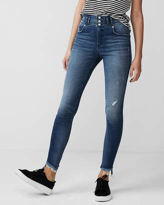 Express Super High Waisted Distressed Ankle Jean Leggings