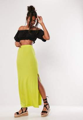 Missguided Lime Jersey Side Split Maxi Skirt