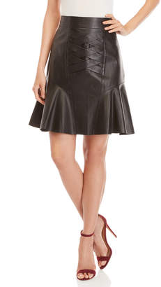 Derek Lam 10 Crosby Black Lace-Up Flared Leather Skirt