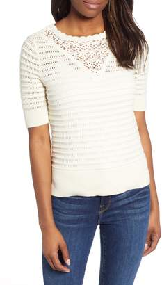 Lucky Brand Crochet Pointelle Sweater