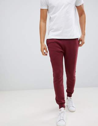 Hollister Icon Logo Fleece Cuffed Jogger In Burgundy