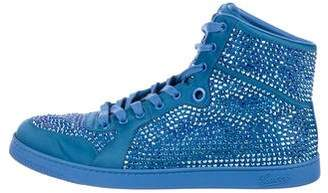 Gucci Crystal-Embellished High-Top Sneakers