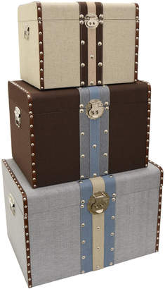 Three Hands Square Storage Trunks (Set of 3)