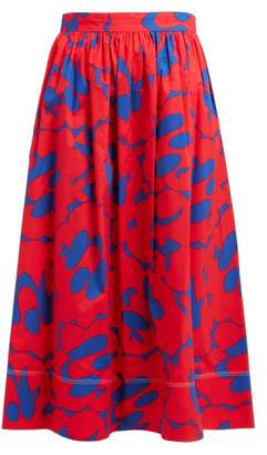Marni Floral Print Cotton Skirt - Womens - Red Multi