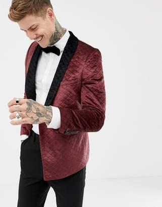 Twisted Tailor super skinny quilted smoking jacket in velvet