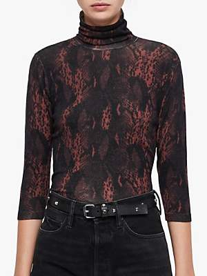 AllSaints Suki Snake Skin Print Funnel Neck Top, Burgundy Red Snake