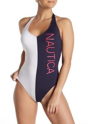 Nautica Halter Graphic Logo One-Piece Swimsuit