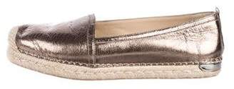 Stuart Weitzman Leather Round-Toe Espadrilles
