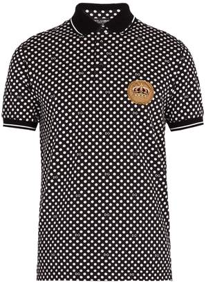 Dolce & Gabbana Polka dot-print cotton-piqué polo shirt