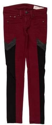 Rag & Bone Colorblock Low-Rise Skinny Jeans