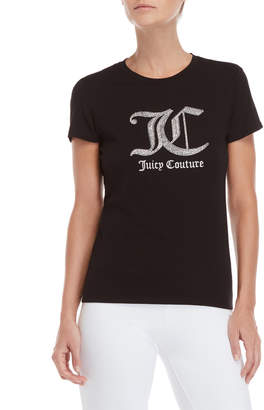 Juicy Couture Black Rhinestone Logo Tee