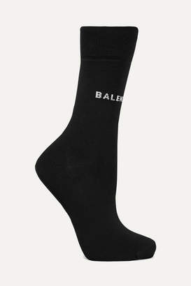 Balenciaga Intarsia Cotton-blend Socks - Black