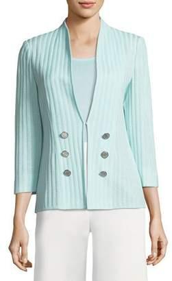 Misook Ribbed 3/4-Sleeve Jacket, Plus Size