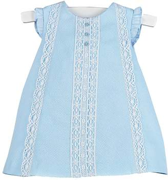 Luli & Me Blue-Pique & Lace Dress