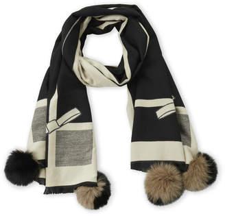La Fiorentina Black & Taupe Real Fur Pom-Pom Scarf