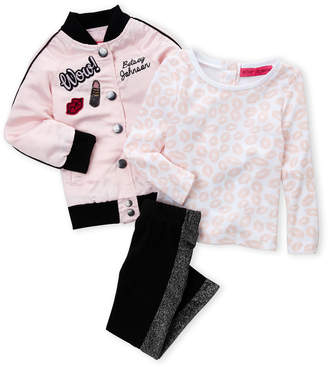 Betsey Johnson Toddler Girls) 3-Piece Patch Bomber Jacket, Lip Top & Metallic Leggings Set