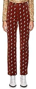 Chloé Women's Archival Embroidery Velvet Trousers - Brown