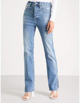 Good American Good Boy raw-hem straight high-rise jeans