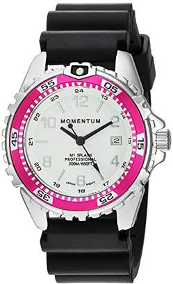 Momentum Women's Quartz Watch | M1 Splash by Momentum| Stainless Steel Watches for Women | Dive Watch with Japanese Movement & Analog Display | Water Resistant ladies watch with Date –Lume / Magenta Rubber