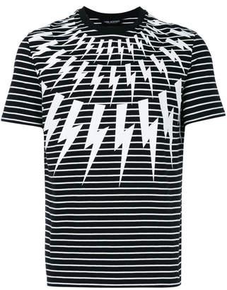 Neil Barrett striped lightning bolt T-shirt