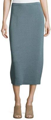 Eileen Fisher Washable Silk/Cotton Midi Pencil Skirt, Blue Steel $218 thestylecure.com