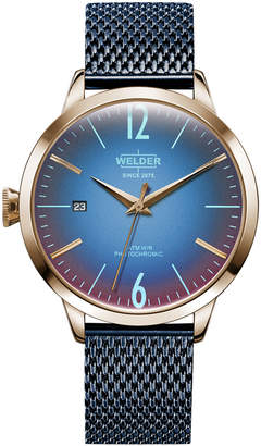 Welder Women Blue Stainless Steel Mesh Bracelet Watch 38mm