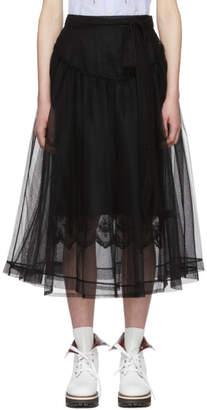 Simone Rocha Black Bow Belt Tulle Skirt