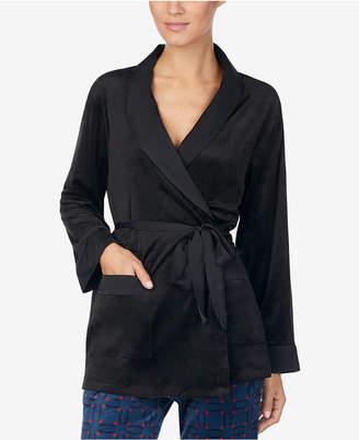 DKNY Satin-Trimmed Wrap Pajama Jacket