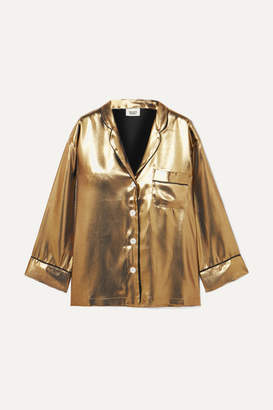 Sleepy Jones Marina Lamé Pajama Shirt - Gold