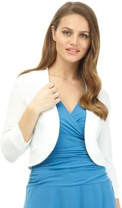 Rekucci Women's Soft Knit Rounded Hem Stretch Bolero Shrug
