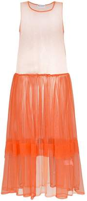 Molly Goddard orange sleeveless tulle dress