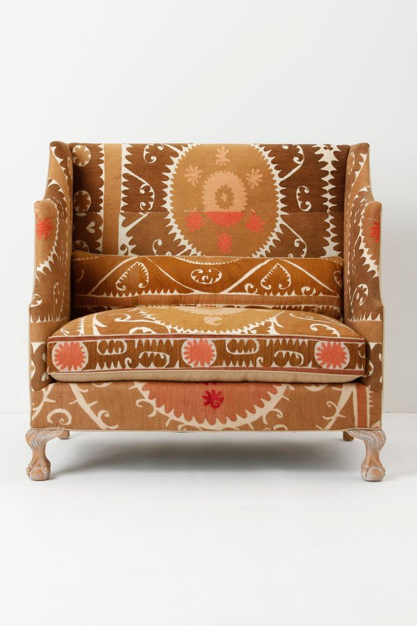 Anthropologie Greenfynch Settee, Vintage Suzani