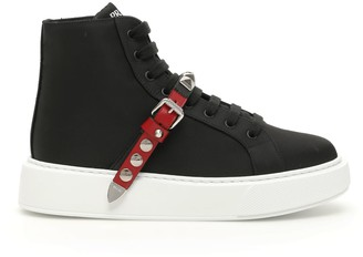 Prada Nylon Sneakers With Studded Strap