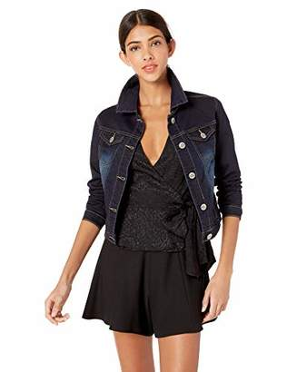 Cover Girl Women's Jeans Denim Jacket Crop Frayed Blue Distressed or Dark Basic