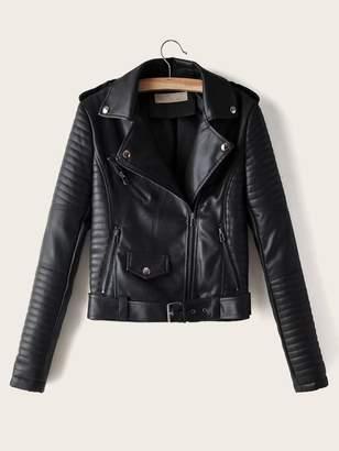 Shein Lapel Neck Zip Up PU Biker Jacket