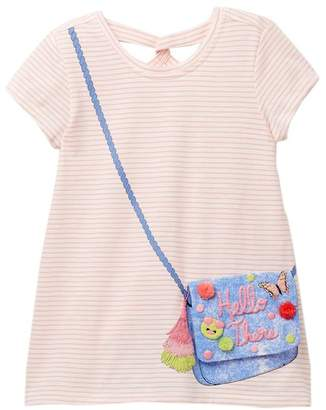 Jessica Simpson Juniper Peach Stripe Denim Purse Dress (Big Girls)