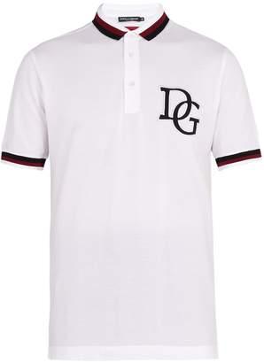 Dolce & Gabbana Striped-trim cotton-piqué polo shirt