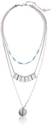 Kenneth Cole New York Blue Stick and Disc Triple Layered Pendant Necklace