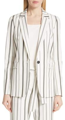 Lafayette 148 New York Marie Stripe Silk Blend Blazer