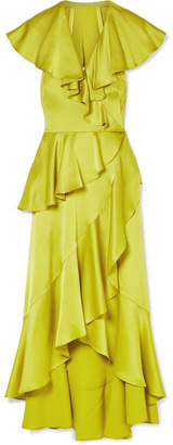 Temperley London Juliette Ruffled Wrap-effect Satin-crepe Midi Dress - Chartreuse